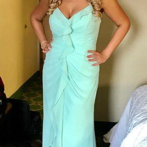 Vera Wang Mint Green Ruffle Bridesmaid Dress